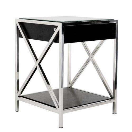 EICHHOLTZ Bedside Table Beverly Hills * Polished stainless steel | oak veneer