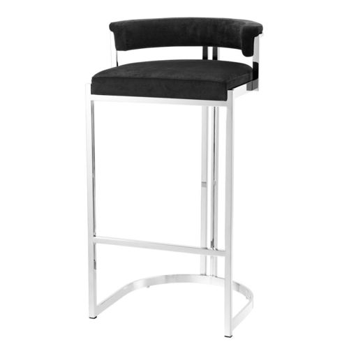 EICHHOLTZ Bar Stool Dante * Polished stainless steel | black velvet