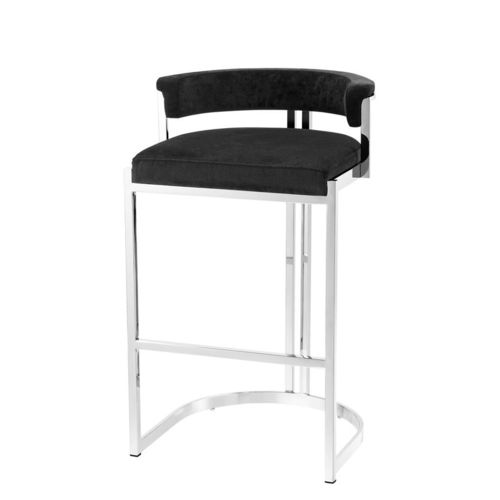 EICHHOLTZ Counter Stool Dante * Polished stainless steel | black velvet