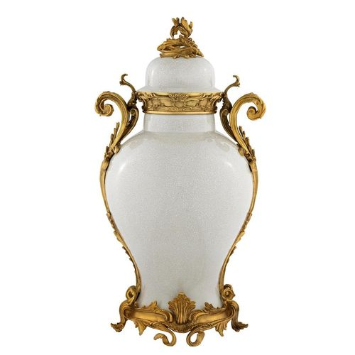 EICHHOLTZ Vase Armand * Cream ceramic | antique gold finish