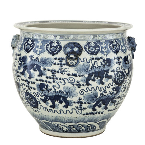 EICHHOLTZ Vase Chinese Fishbowl * Chinese blue ceramic