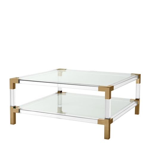 Eichholtz Coffee Table Royalton * Clear acrylic | brushed brass finish