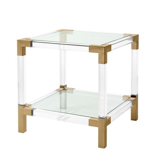 Eichholtz Coffee Side Table Royalton * Clear acrylic | brushed brass finish
