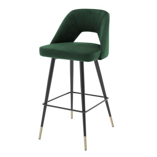 Eichholtz Bar Stool Avorio * Roche green velvet | black & brass legs