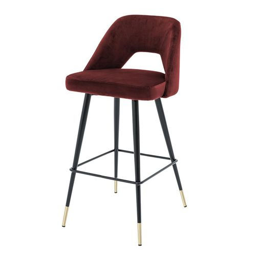 Eichholtz Bar Stool Avorio * Roche bordeaux velvet | black & brass legs