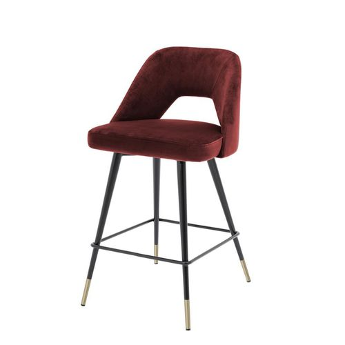 Eichholtz Counter Stool Avorio * Roche bordeaux velvet | black & brass legs