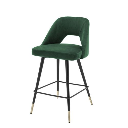 Eichholtz Counter Stool Avorio * Roche green velvet | black & brass legs