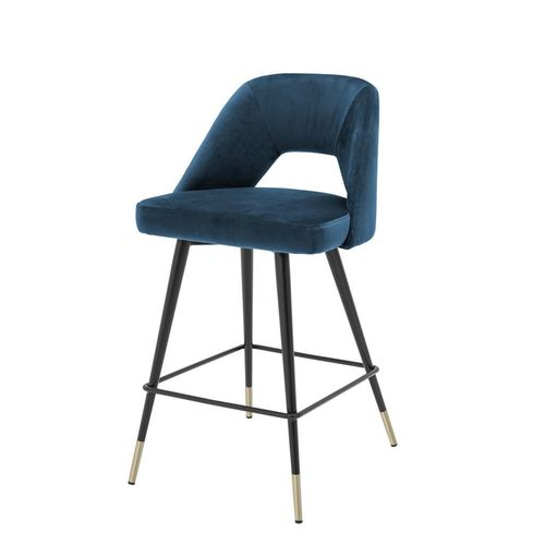 Eichholtz Counter Stool Avorio * Roche blue velvet | black & brass legs