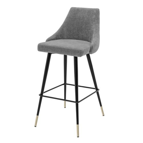 Eichholtz Bar Stool Cedro * Clarck grey | black & brass legs