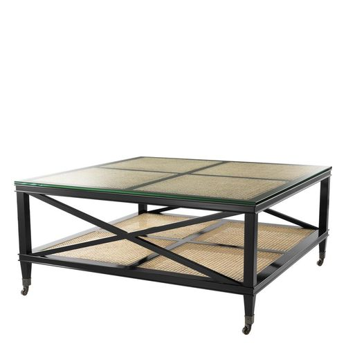 Eichholtz Coffee Table Bahamas * Black finish | natural cane | clear glass