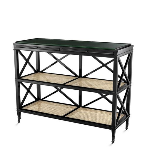 Eichholtz Console Table Bahamas * Black finish | natural cane | clear glass