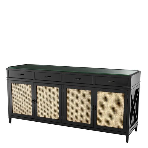 Eichholtz Dresser Bahamas * Black finish | natural cane | clear glass