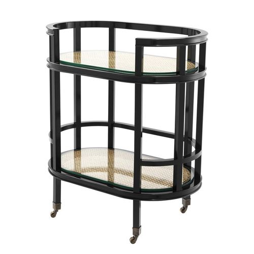 Eichholtz Trolley Bahamas * Black finish | natural cane | clear glass