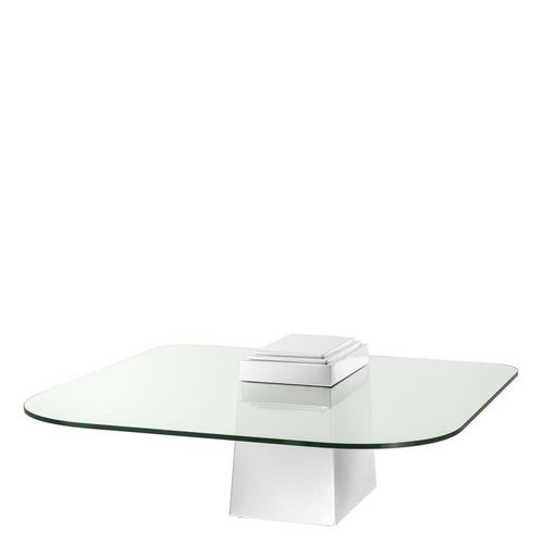 Eichholtz Coffee Table Orient * Polished stainless steel | clear glass