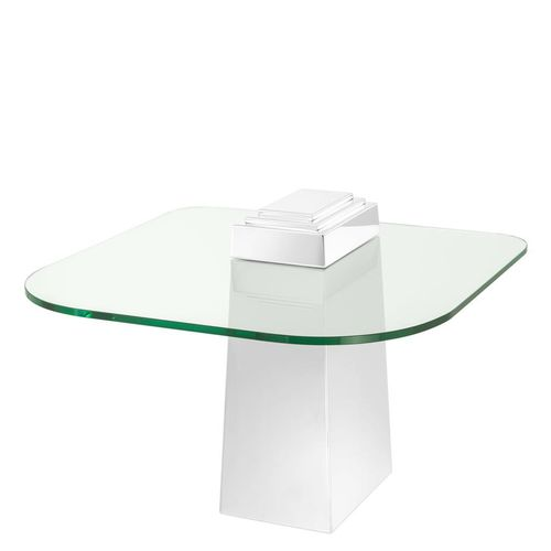 Eichholtz Side Table Orient * Polished stainless steel | clear glass