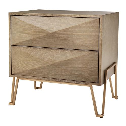 Eichholtz Bed Side Table Highland * Washed oak veneer | brushed brass finish