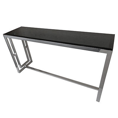 Hazenkamp Side Table with Black Glass 150x40x78cm