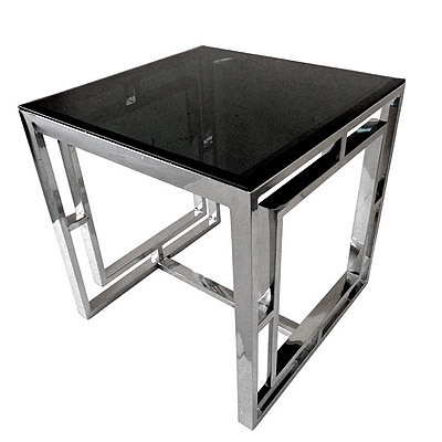 Hazenkamp Side Table with Black Glass 60x60x60cm