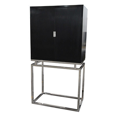 Hazenkamp Cabinet 90x50x175 Nickel FrameBlack Wooden Top