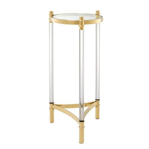 Eichholtz Column Trento * Gold finish | clear acrylic * Clear glass