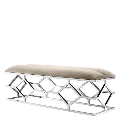 Eichholtz Bench Trellis * Polished stainless steel | pebble grey