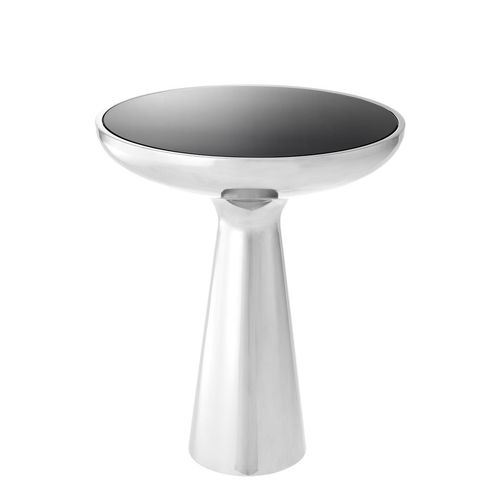 Eichholtz Side Table Lindos low * Polished stainless steel | black glass
