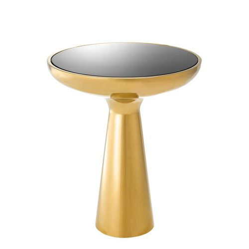 Eichholtz Side Table Lindos low * Gold finish | black glass