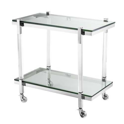 Eichholtz Trolley Royalton * Clear acrylic | polished stainless steel | clear glass