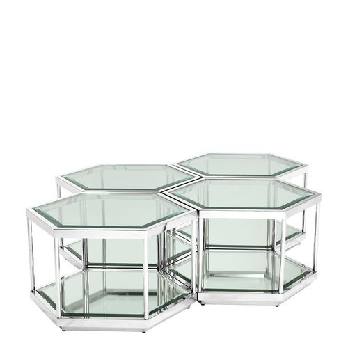 Eichholtz Coffee Table Sax set of 4 * Polished stainless steel | clear glass | mirror glass