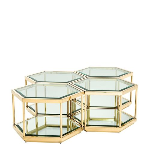 Eichholtz Coffee Table Sax set of 4 * Gold finish | clear glass | mirror glass