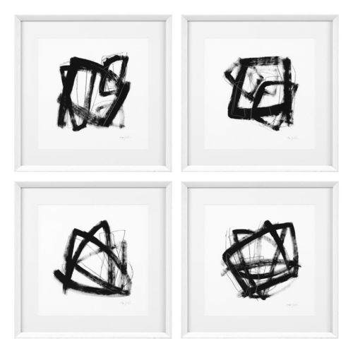 Eichholtz Prints Tessellation set of 4 * White wooden frame | clear glass