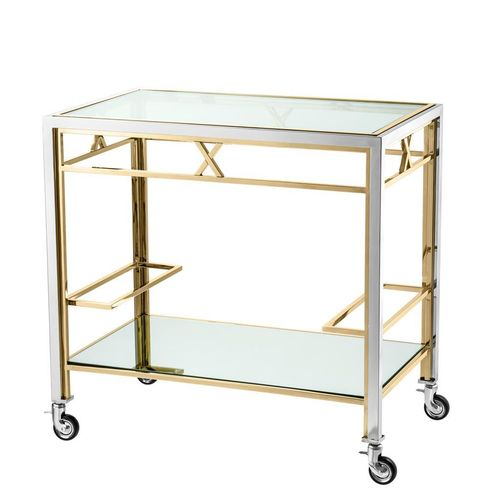 Eichholtz Trolley Lindon * Polished stainless steel | gold finish | clear glass | mirror glass