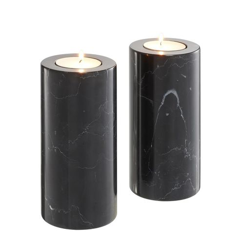 Eichholtz Tealight Holder Tobor L set of 2 * Black marble