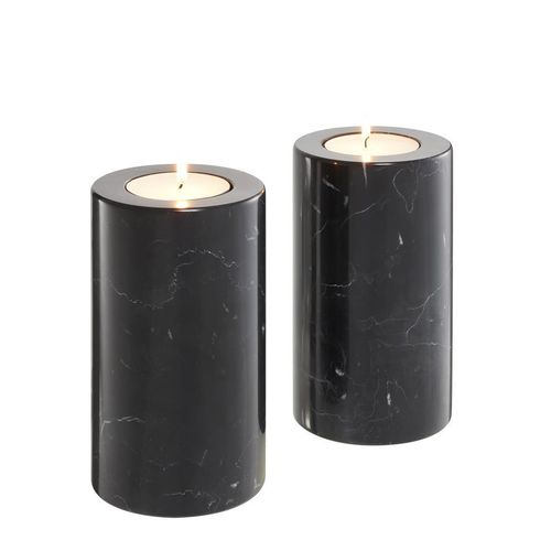 Eichholtz Tealight Holder Tobor M set of 2 * Black marble