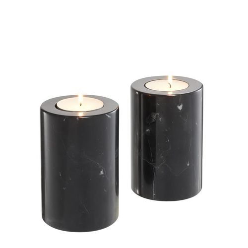 Eichholtz Tealight Holder Tobor S set of 2 * Black marble