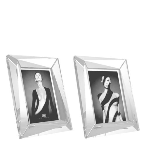 EICHHOLTZ Picture Frame Obliquity L set of 2 * Clear crystal glass