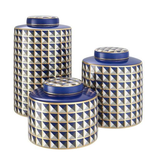 EICHHOLTZ Jar Drappo set of 3 * Porcelain