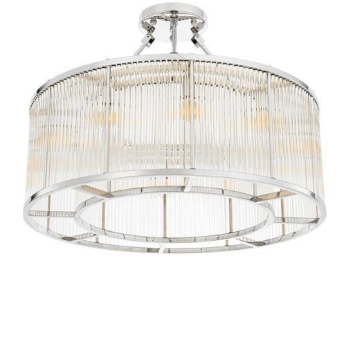 EICHHOLTZ Ceiling Lamp Bernardi * Nickel finish | clear glass