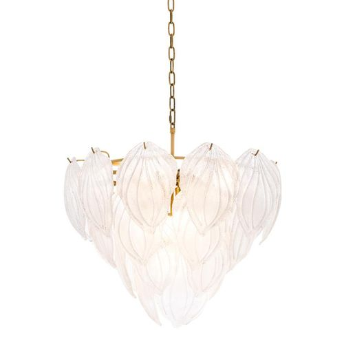 Eichholtz Chandelier Novida * Antique brass finish | hand blown frosted glass