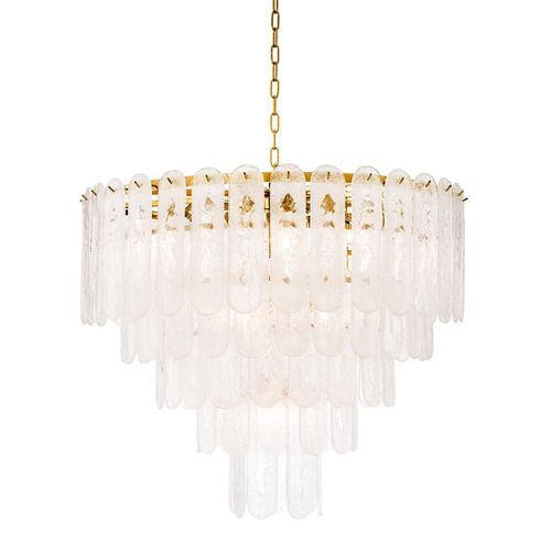 EICHHOLTZ Chandelier Riveria * Gold finish | frosted glass