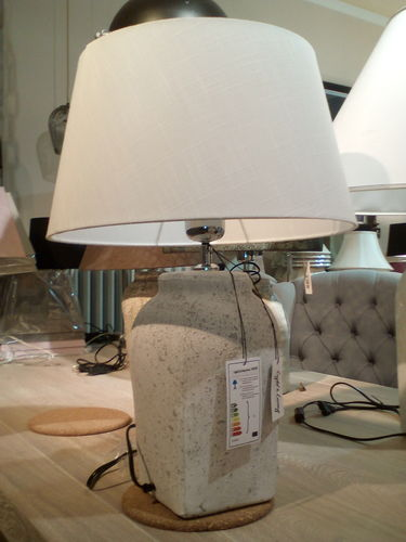 Light & Living Ø20x39 cm HEKLA small hellgrau + Schirm Ø38 cm weiss* Showroom Bad Ems