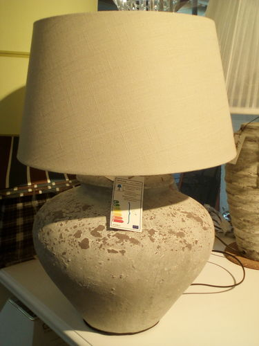 Light & Living Ø34x39 cm WILIS antik grau + Schirm Ø38 cm beige * Showroom Bad Ems