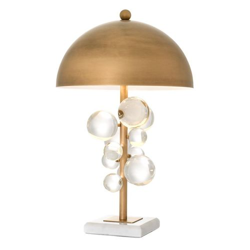 EICHHOLTZ Table Lamp Floral * Brass finish | clear glass | white marble
