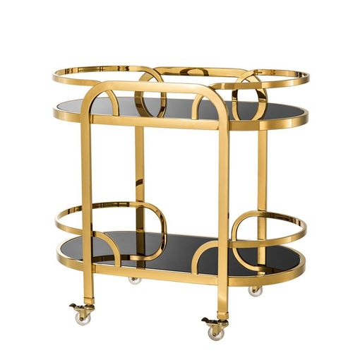 Eichholtz Trolley Oakhurst * Gold finish | black glass