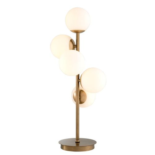Eichholtz Table Lamp Libris * Antique brass finish | white glass