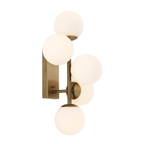 Light & Living Wall Lamp Libris * Antique brass finish | white glass