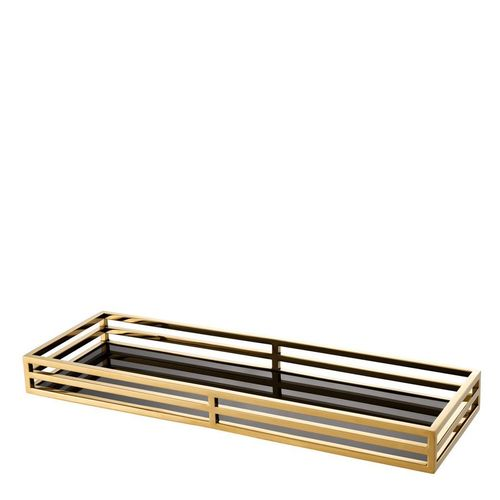 EICHHOLTZ Tray Ersa * Gold finish | black glass
