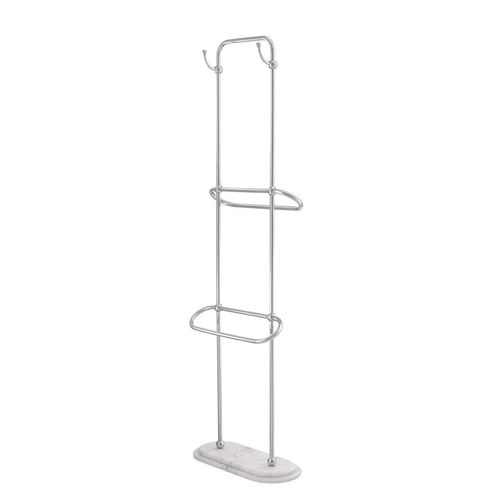EICHHOLTZ Towel Rack Lowell L * Polished stainless steel | white marble base