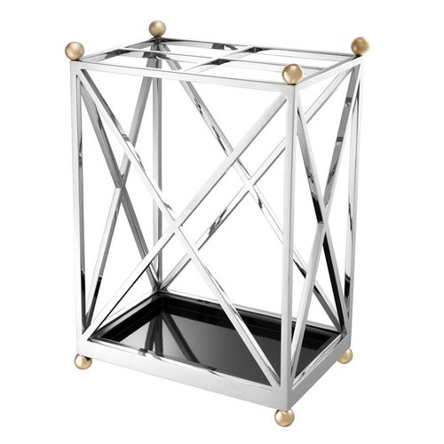 Eichholtz Umbrella Stand Quorum * Nickel finish | polished brass