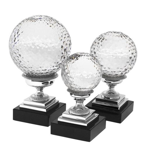 Eichholtz Object Divani set of 3 * Nickel finish | hand blown clear glass